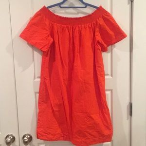 J. Crew Orange Off-the-shoulder dress